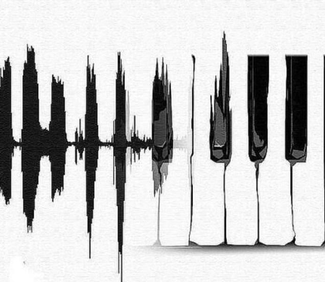 Kunstwerk dat geluidsgolven en pianotoetsen combineert